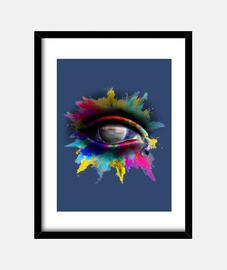 Universe Eye - Cuadro con marco negro vertical 3:4 (15 x 20 cm)