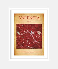Valencia Map - Cuadro con marco blanco vertical 3:4 (15 x 20 cm)