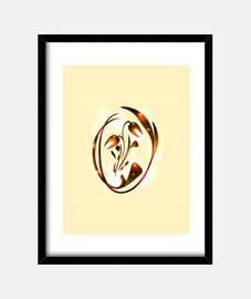 Vector de tulipán de bronce en reflejos soleados para una postal.