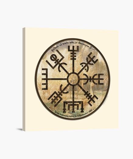 Lienzo Vikingos - Vegvísir (brújula vikinga)