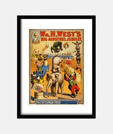 Vintage circus poster, year 1900
