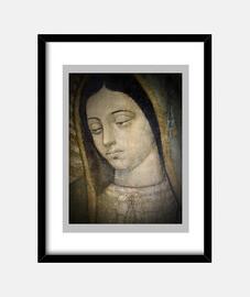 Virgen de Guadalupe - Cabeza. Cuadro con marco negro vertical 3:4 (15 x 20 cm)