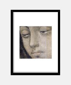 Virgen de Guadalupe - Cara. Cuadro con marco negro vertical 3:4 (15 x 20 cm)