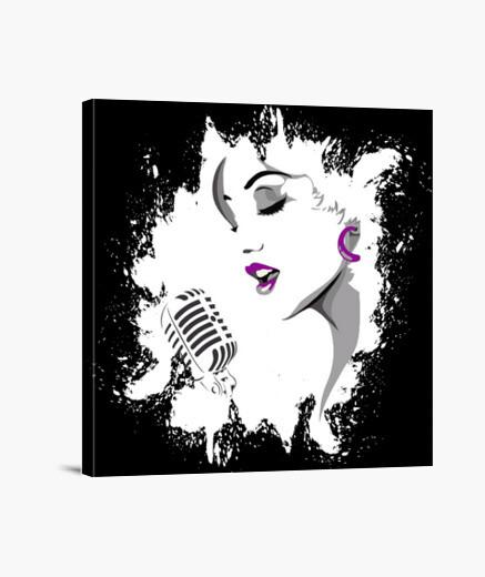 Tableau visage d'une femme chanter dans un microphon
