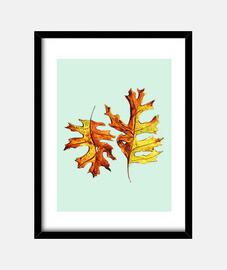 watercolor painted dancing autumn leaves
