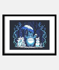 winter forest friends art print