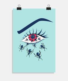 yeux rouges effrayants avec des fourmis