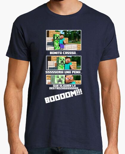 Camiseta -Creeper Minecraft- Chico Gris