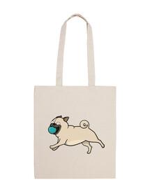 100 cotton fabric bag carlino pug with ball
