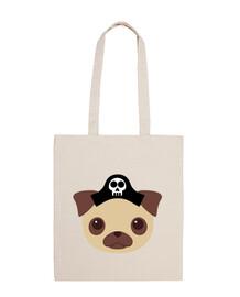 100% cotton fabric bag, pirate dog design