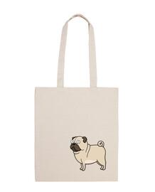 100 cotton fabric bag pug drawing carlino