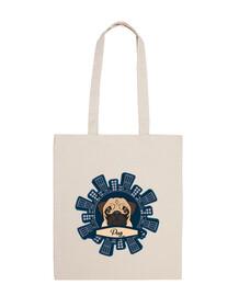 100% cotton fabric pug design skyscraper bag