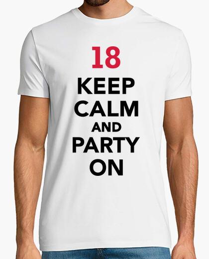 T-shirt 18 ° compleanno mantenere la calma e festa