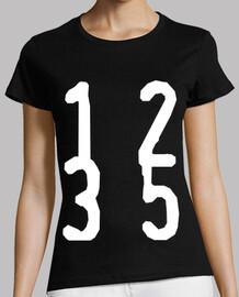 1 2 3 5 Fibonacci     Mujer, manga corta, negra, calidad premium