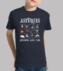 2017 asturies sfondo scuro - camicia per manica corta ragazzo