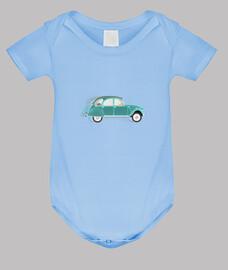 2cv green citroen // baby bodysuit / blue