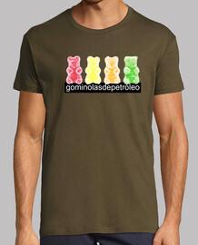 4 osos. Camiseta chico retro color chocolate