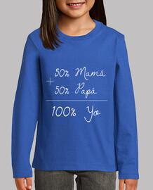 50 Mamá   50 Papá = 100 Yo (letras blan