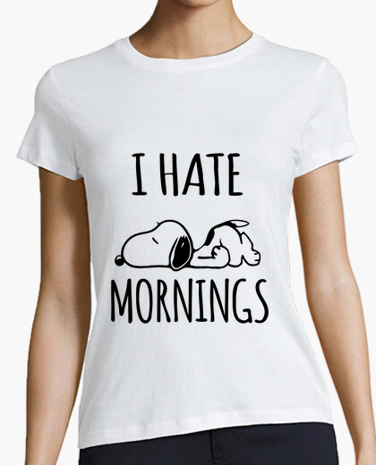 I Hate Mornings Snoopy Flat Out T-shirt for Women or Men