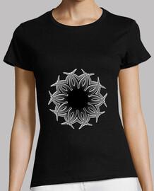 Diseño abstracto Blanco y Negro Mujer, manga corta, negra, calidad premium flor metálica con espina