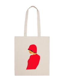 femme  avec chapeau rouge