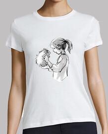 femme  avec cochon guinée
