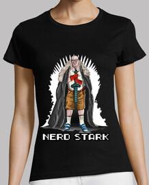 nerd  stark trône  tee shirt  blanche  femme