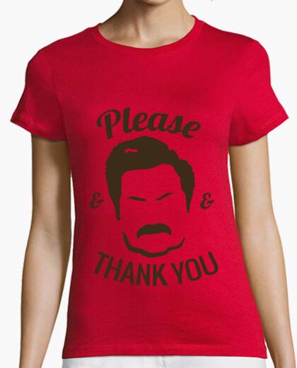 Tee-shirt  T-shirt  de  femme  ron swanson s'il vous plaît and merci
