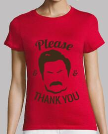 T-shirt  de  femme  ron swanson s'il vous plaît and merci