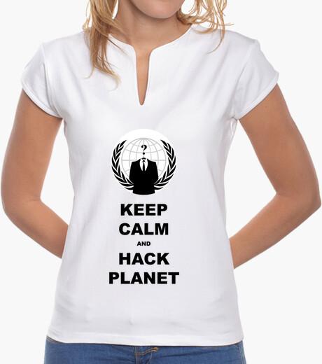 Tee-shirt  tee shirt  femme à garder calm and pirater la planète