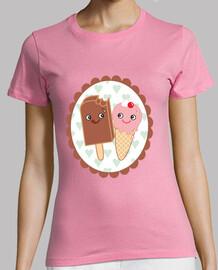 tee shirt  rose crème glacée amoureux kawaii