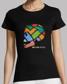 tête de mort   T-shirt  de femme d'hiver