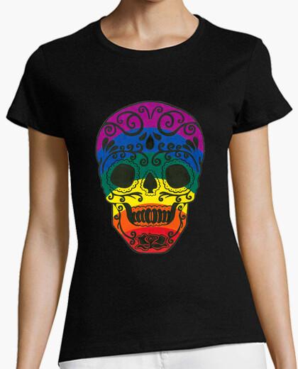 Tee-shirt  tête de mort  de sucre arc-en-