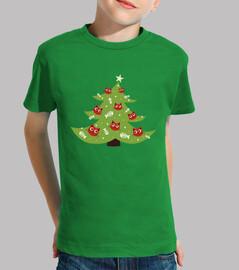 árbol de navidad con adornos de peces gato