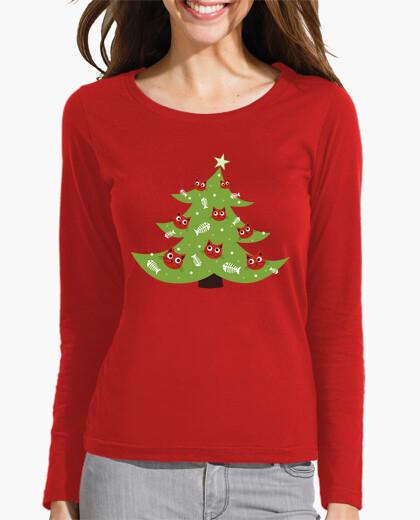 Camiseta árbol de navidad con adornos de peces gato