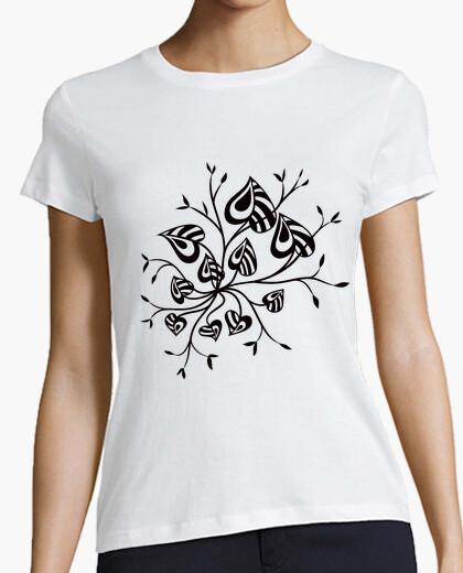 Camiseta abstracto flor pointy hojas tatuaje