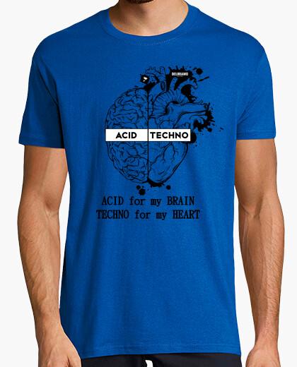 T-shirt Acid Techno Cervello Cuore Grande Nero