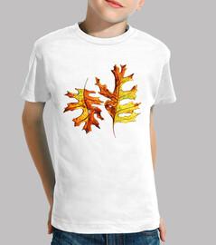 acuarela pintada bailando hojas de otoño