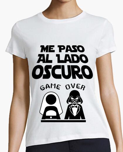 T-shirt addio al celibato luce di fondo lato oscuro (fidanzata)