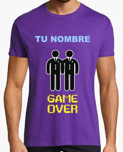 T-shirt addio al celibato nome personalizzato, game over descrizione gay lettura ** **