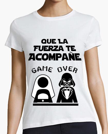 T-shirt addio al celibato sfondo chiaro lato oscuro (amici)
