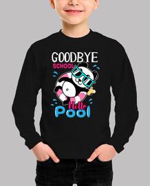 Adios escuela hola Piscina camiseta lindo panda en flotador