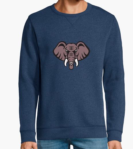 African elephant head angry tusk retro hoody