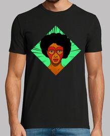afro hero - man, short sleeve, black, extra quality