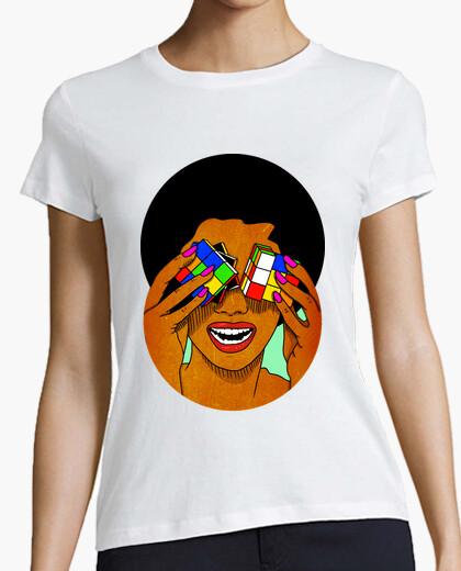 Tee-shirt afro rubik - cube - femme, manches courtes, blanc, qualité supérieure