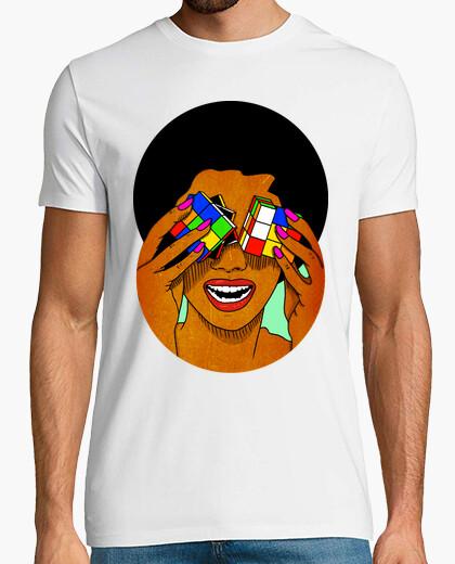 T-shirt afro rubik - cube - uomo, manica corta, bianco, qualità extra