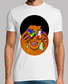 afro rubik - cube - uomo, manica corta, bianco, qualità extra