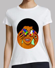 Afro Rubik - cubo - Mujer, manga corta, blanca, calidad premium