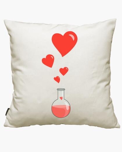 Housse de coussin aimer la chimie flacon de coeurs de geek