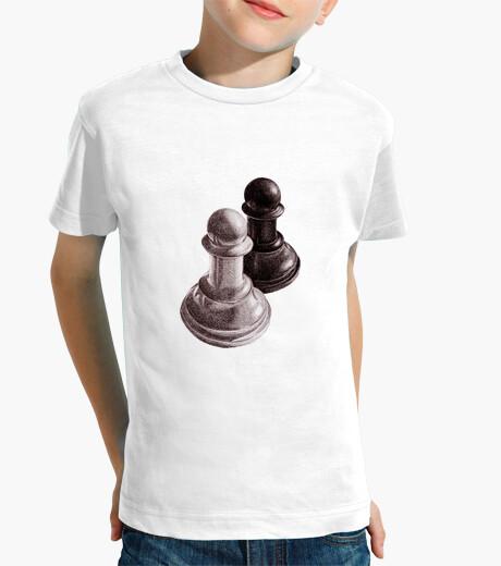 Ropa infantil ajedrez blanco y negro peones niños camiseta